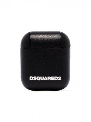 Raised-logo leather AirPods case Dsquared2. Цвет: черный