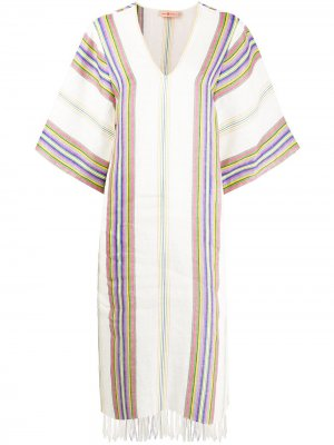 Платье-туника в полоску Tory Burch. Цвет: белый