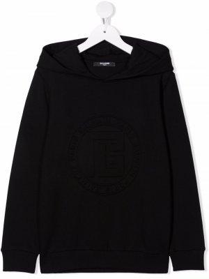 TEEN logo-embossed cotton hoodie Balmain Kids. Цвет: черный