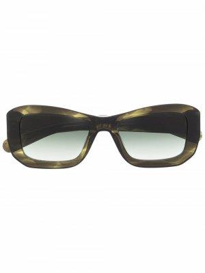 Солнцезащитные очки в массивной оправе FLATLIST. Цвет: зеленый