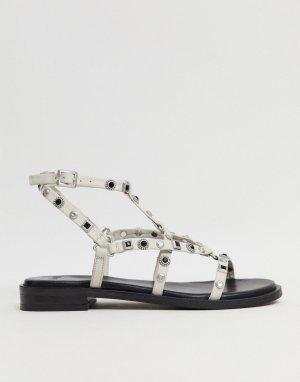 Белые кожаные сандалии с ремешками BRONX-Белый Bronx