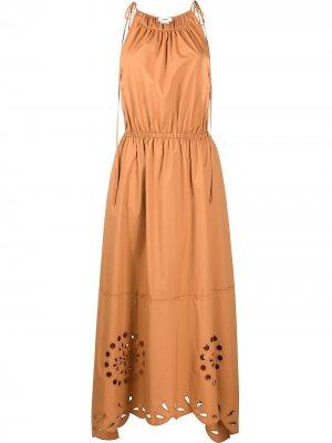 Платье макси с английской вышивкой Jason Wu. Цвет: оранжевый