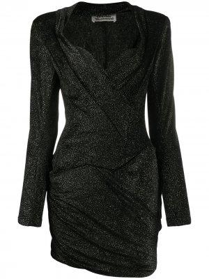 Драпированное платье мини с эффектом металлик Vivienne Westwood Anglomania. Цвет: черный