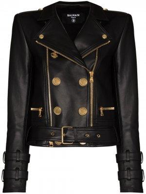 Двубортная куртка Balmain. Цвет: черный