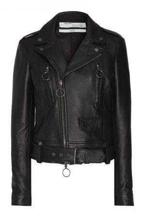 Кожаная куртка с кольцами Off-white. Цвет: черный