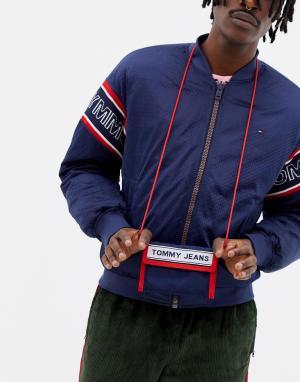 Синий бумажник с логотипом Tommy Jeans. Цвет: синий