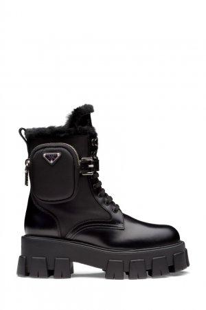 Черные комбинированные ботинки Prada. Цвет: черный