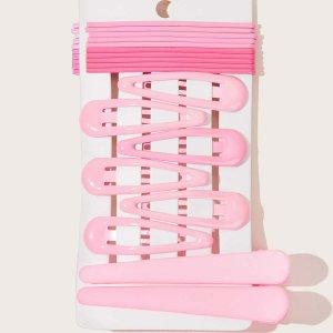 Простая шпилька для волос 18шт SHEIN. Цвет: розовые