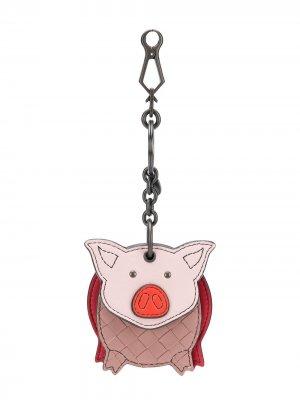 Брелок для ключей Piggy Bottega Veneta. Цвет: розовый