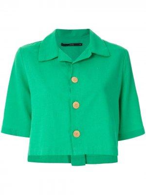 Укороченная рубашка с короткими рукавами Eva. Цвет: зеленый