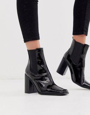 Черные лакированные ботинки челси на каблуке River-Черный ASOS DESIGN