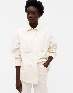 Белая вельветовая рубашка Conny-Li-Белый Monki