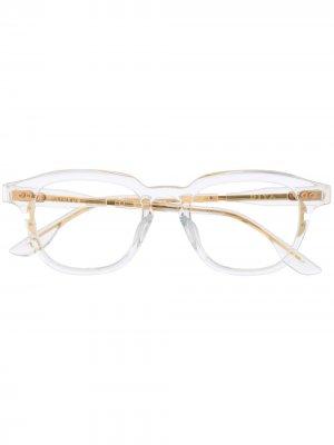 Солнцезащитные очки в прозрачной квадратной оправе Dita Eyewear. Цвет: белый