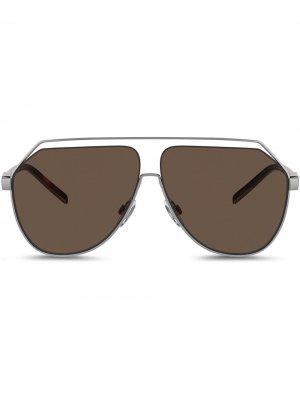 Солнцезащитные очки-авиаторы Less Is Chic Dolce & Gabbana Eyewear. Цвет: серый