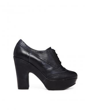 Кожаные туфли на каблуке и платформе со шнуровкой Gardenia. Цвет: etna black