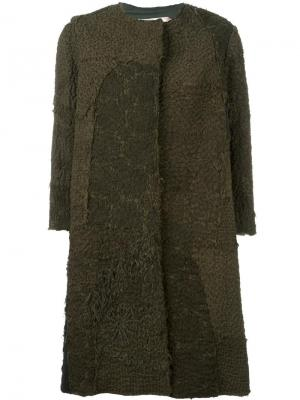 Окрашенное вручную пальто с ажурными панелями By Walid. Цвет: зелёный