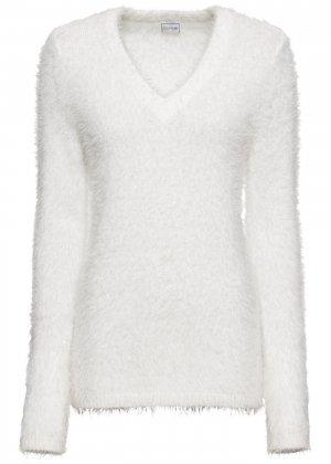 Ворсованный пуловер bonprix. Цвет: белый