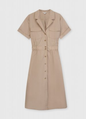 Платье-рубашка из хлопка O`Stin. Цвет: бежевый