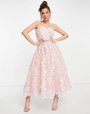 Розовое платье миди с декоративной отделкой в 3D -Розовый цвет Forever U
