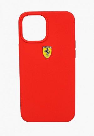 Чехол для iPhone Ferrari 12 Pro Max (6.7), On-Track Liquid silicone with metal logo Red. Цвет: красный