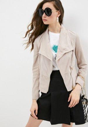 Куртка кожаная Pennyblack ESSO. Цвет: бежевый