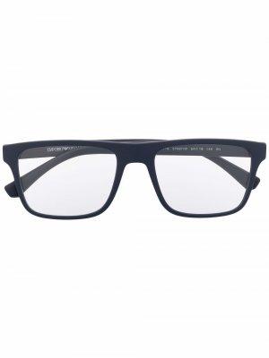 Солнцезащитные очки со сменными линзами Emporio Armani. Цвет: синий
