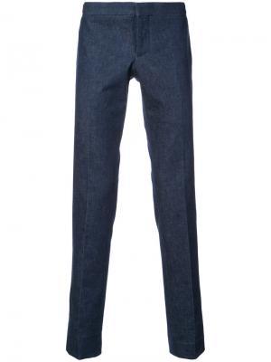 Классические брюки скинни Thom Browne. Цвет: синий