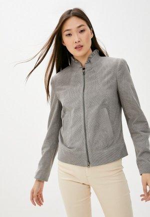 Куртка кожаная Madeleine. Цвет: серый