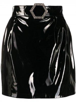 Лакированная мини юбка Philipp Plein. Цвет: черный