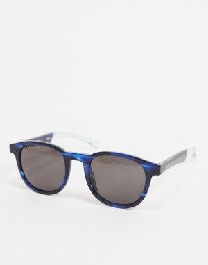 Черные круглые солнцезащитные очки с принтом Hugo Boss-Черный цвет BOSS