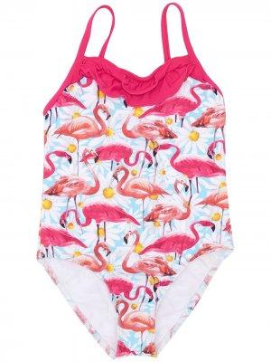 Слитный купальник с принтом фламинго Elizabeth Hurley Beach Kids. Цвет: розовый