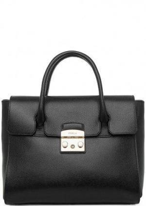 Кожаная сумка со съемным плечевым ремнем Metropolis Furla. Цвет: черный