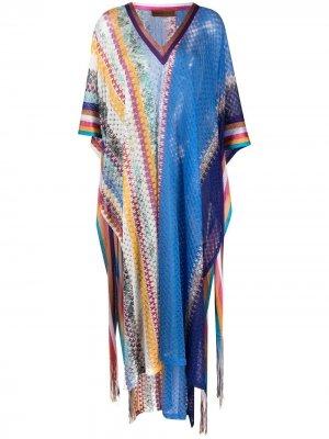 Пляжное платье миди с узором шеврон Missoni Mare. Цвет: синий