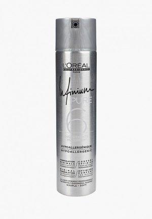 Лак для волос LOreal Professionnel L'Oreal INFINIUM PURE SOFT средней фиксации. Цвет: серебряный