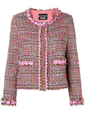 Твидовый пиджак с цветочной отделкой Boutique Moschino. Цвет: розовый