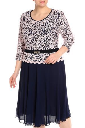 Платье CREDO. Цвет: темно-синий, розовый