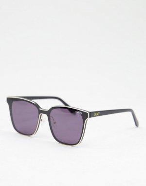 Черные квадратные солнцезащитные очки в стиле унисекс Quay Lined Up-Черный цвет Australia