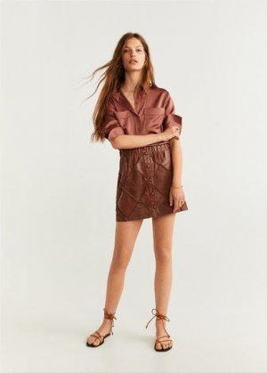 Кожаная юбка - Patch-i Mango. Цвет: коричневый