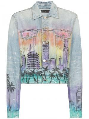 Джинсовая куртка свободного кроя с принтом Hollywood Amiri