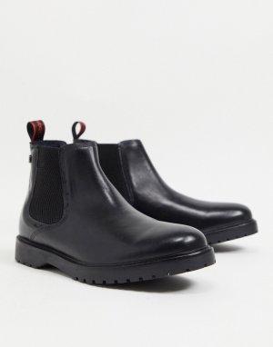 Черные кожаные ботинки челси Anvil-Черный цвет Base London