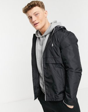 Черная куртка-дождевик из однотонного нейлона с капюшоном и фирменным логотипом -Черный цвет Polo Ralph Lauren
