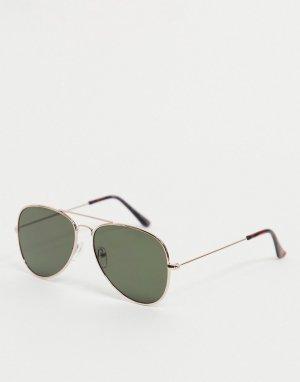 Золотистые солнцезащитные очки-авиаторы -Золотистый New Look