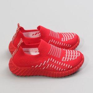 Для девочек Беговая обувь в полоску SHEIN. Цвет: красный