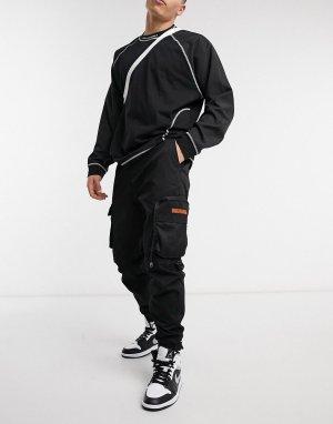 Черные брюки-карго с контрастными карманами -Черный Bershka