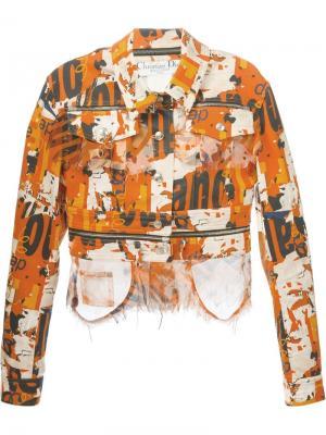 Джинсовая куртка с принтом Christian Dior Vintage. Цвет: жёлтый и оранжевый