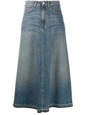 Длинная юбка прямого кроя Alysi. Цвет: синий