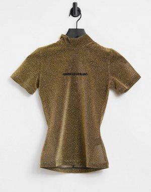 Золотистая футболка с блестками и высоким воротом House Of Holland-Золотистый Holland