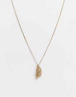 Золотистое ожерелье из латуни с подвеской в виде кулона и зеркала -Золотистый AllSaints