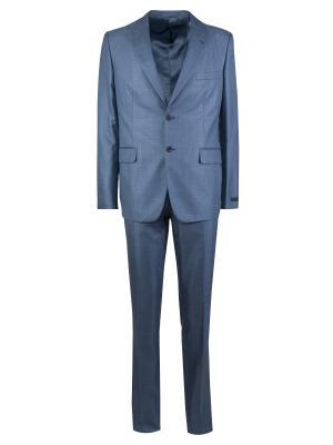 Классический костюм PRADA. Цвет: голубой