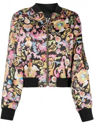 Бомбер на молнии с принтом Versace Jeans Couture. Цвет: черный